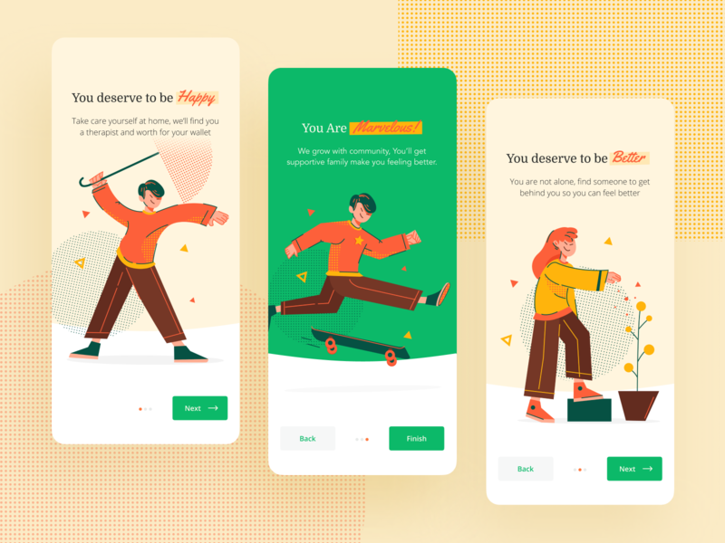 Avance — Onboarding Design stress anxiety healing happy maps depression yellow green insurance avance onboarding app design web design ui npw
