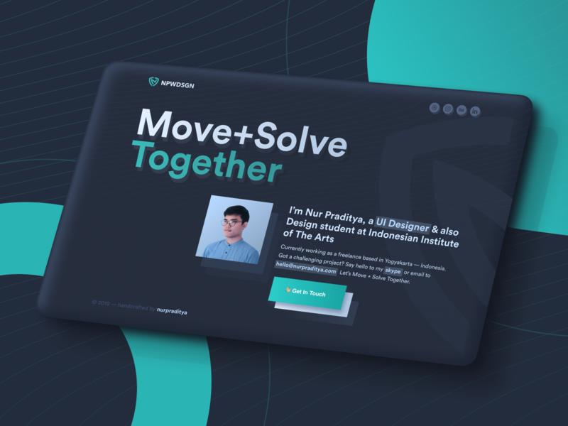 Nur Praditya — Personal Website contrast darkblue dark mode tosca hello together solve move visual design ui designs website design landing page personal website