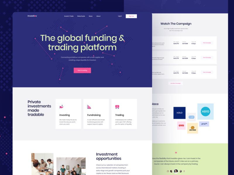 Investlov — Investment Landing Page branding clean maps modern website landing page marketplace npw pink purple blue global platform trading funding investor