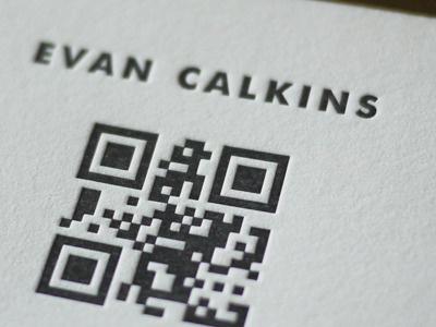 QR Code Letterpress Printed Cards letterpress simple qr paper clean business cards