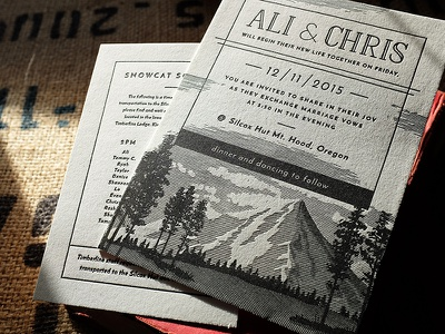 Ali & Chris's Letterpress Printed Wedding Set typography wedding paper print letterpress