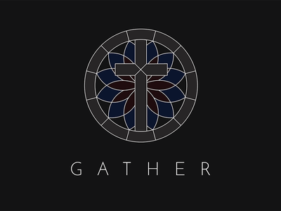 Gather Church minimal simple stained glass cross logo church