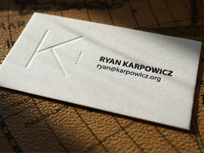 Ryan Karpowicz Calling Card letterpress typography simple minimal