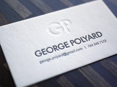 George Polyard Monogram Card letterpress minimal business card calling card simple texture