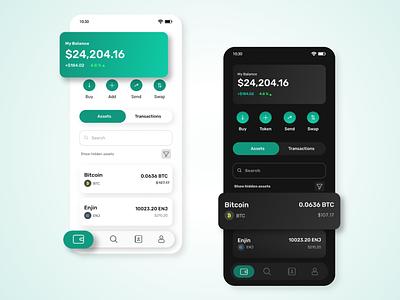 OVO CRYPTO WALLET APP DESIGN blockchain app design design uiux light theme dark theme mobile app design crypto wallet