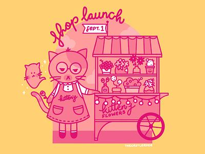 Kitten's Flowers spooky ghost flower shop flower cart florist cat flowers pink vector illustration