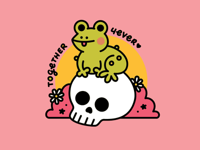 TOGETHER 4EVER daisies daisy death buddies friendship pals friends skull toad frog green pink vector illustration