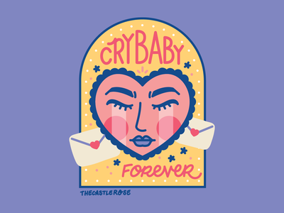 CRYBABY FOREVER purple yellow pink heart face heart crying crybaby vector illustration