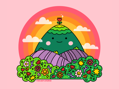 MOUNTAIN BUDDY friends happy clouds flora flowers nature scenery valley hill mountain vector illustration