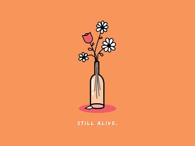 STILL ALIVE selfcare duotone pink orange illustrator vector line art flowers floral