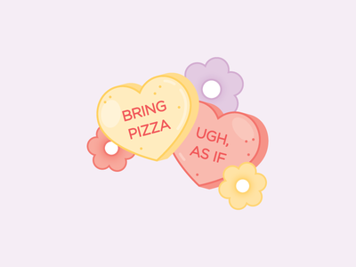 Mixed Conversation Hearts illustration vector digital cute flowers hearts pastel valentines valentines day sweets candy candy hearts