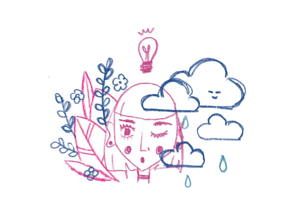 WIP : Ah-Ha Moment (Sketch) pencil drawing rain clouds wow surprise lightbulb nature leaf girl leaves procreate handdrawn line art sketch