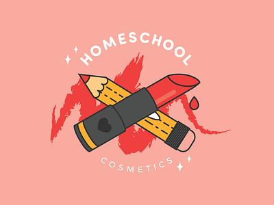Homeschool Cosmetics Logo branding design cute vector artistry pencil red illustration logo branding makeup artist makeup cosmetics lipstick
