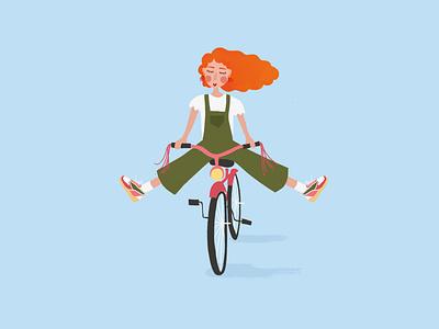 Cycling girl illustration girl cycling bike design procreate illustration