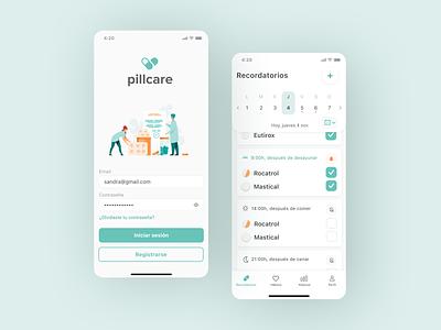 App Pillcare healthcare health reminder app medicine wireframe prototype figma minimal app ui ux
