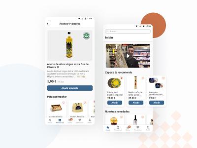 Zappa's nº3 app blue red shapes figma web design application shop store food app grocery ecommerce ux ui app