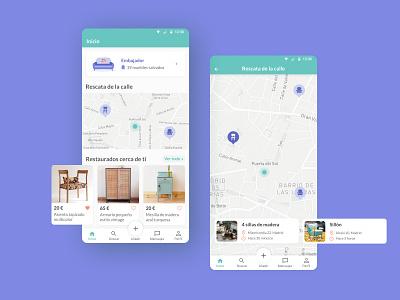 Recrea app map circular economy furniture mobile figma uxui design app ux ui