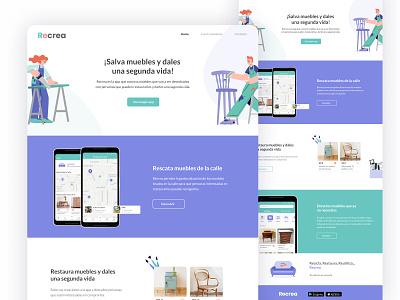 Recrea landing page furniture landing page circular economy web design figma app design ux ui