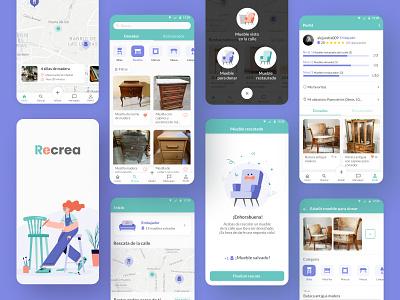 Recrea app congratulations add map furniture circular economy home profiles ux ui mobile figma app ux ui