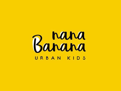 Nana Banana logo fun banana yellow kids branding logo