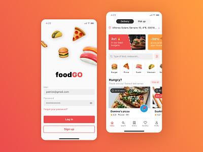 foodGO app go promo yummy foodie design pizza delivery figma app ux ui