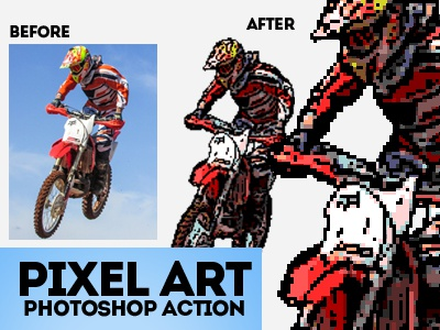 Pixel Art Sprite for Video Game Photoshop Action by PsdDude 🕸 on