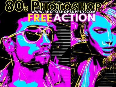 80s Style Photoshop Action photo effects free photoshop action freebie photoshop action 80s photoshop action retro 80s