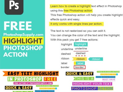 Free Text Photoshop Action (Highlight Effect) text highlight text action text photoshop freebie free photoshop action photoshop action