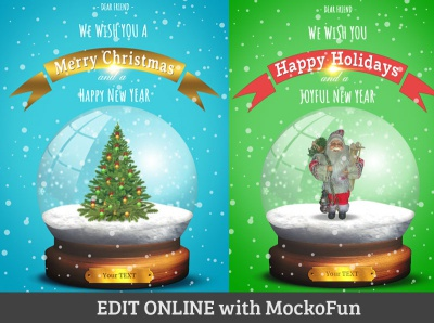 Editable Snow Globe mockofun online xmas christmas card christmas globe snow globe