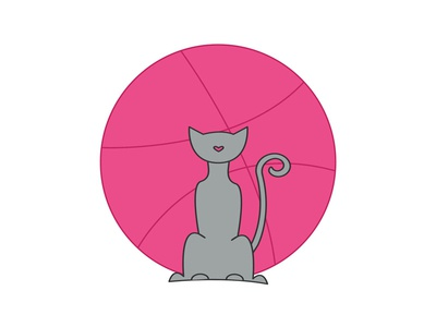 Hello Dribbble! heart cat and moon salem first shot cat dribbble
