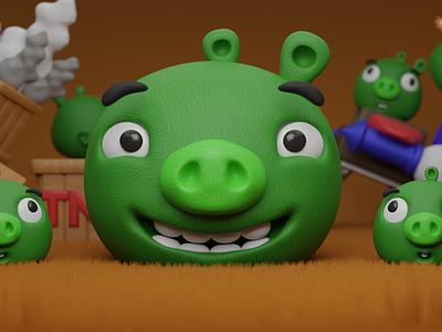 Papa Pig and His Cute Childrens ui logo illustration motion graphics motion design animation 3dmodel 3dart 3d