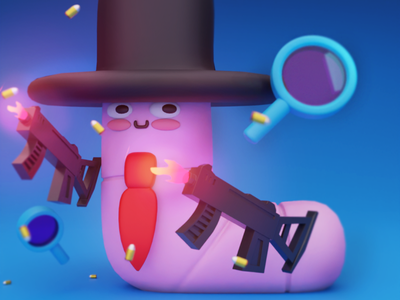 Worm In Disguise ui logo illustration motion graphics motion design animation 3dmodel 3dart 3d