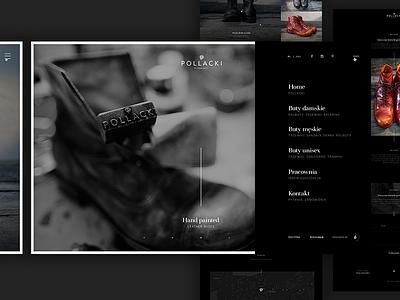 Pollacki website portfolio hand made dark web minimal shoes webdesign ux ui
