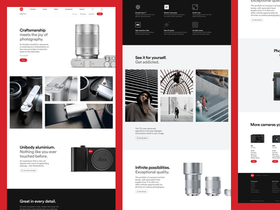 Leica product page ecommerce webshop white clean minimal photography photo leica