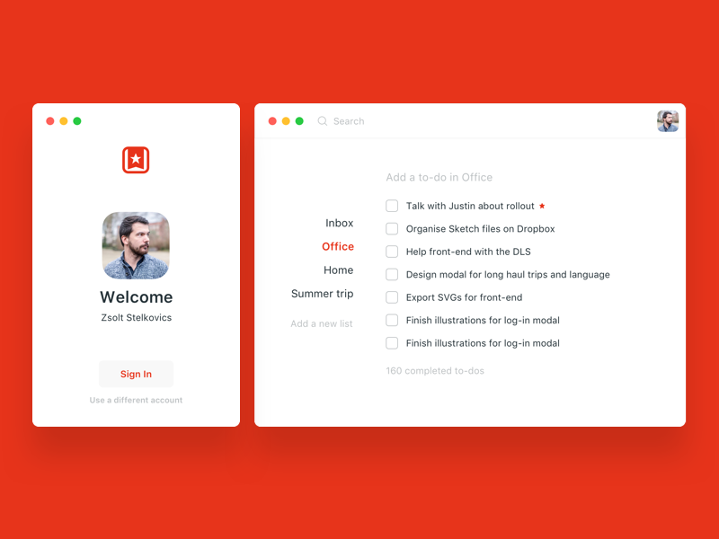Wunderlist redesign - login and main screen by Zsolt