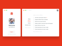 Wunderlist redesign - login and main screen