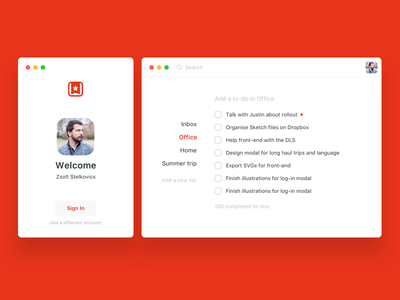 Wunderlist redesign - login and main screen clean red ux ui minimal redesign wunderlist