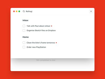 Wunderlist redesign - search screen clean red ux ui minimal redesign wunderlist