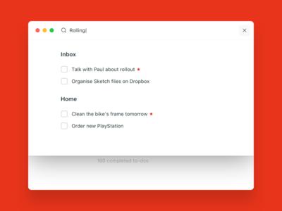 Wunderlist redesign - search screen