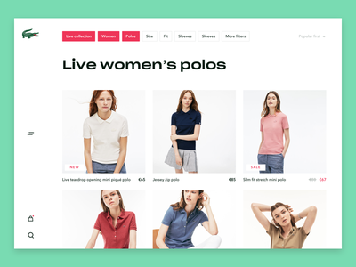 Lacoste Listing page commerce webshop colours design ui free young modern lacoste