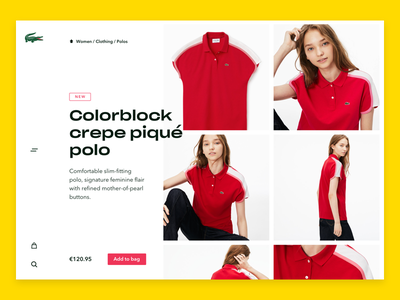 Lacoste product page v2 commerce webshop colours design ui free young modern lacoste