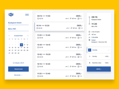 Hungarian Railways ux ui table select train schedule yellow redesign hungary railway