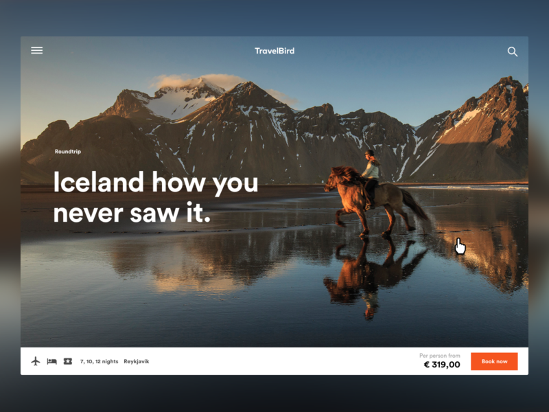 Early concept for TravelBird's redesign