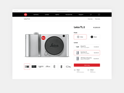 Leica product page simple minimal camera leica e-commerce webshop redesign ux ui