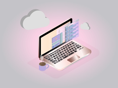 Laptop isometric cloud 3d art play isometric web app laptop design shot illustration computer 3d