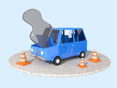 Wiggly smoke broken car mechanic auto repair repair shop car animation cinema 4d 3d illustration 3d animation