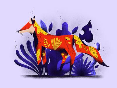 Fox plants illustration procreate applepencil ipadpro texture grain portrait nature pastel fox