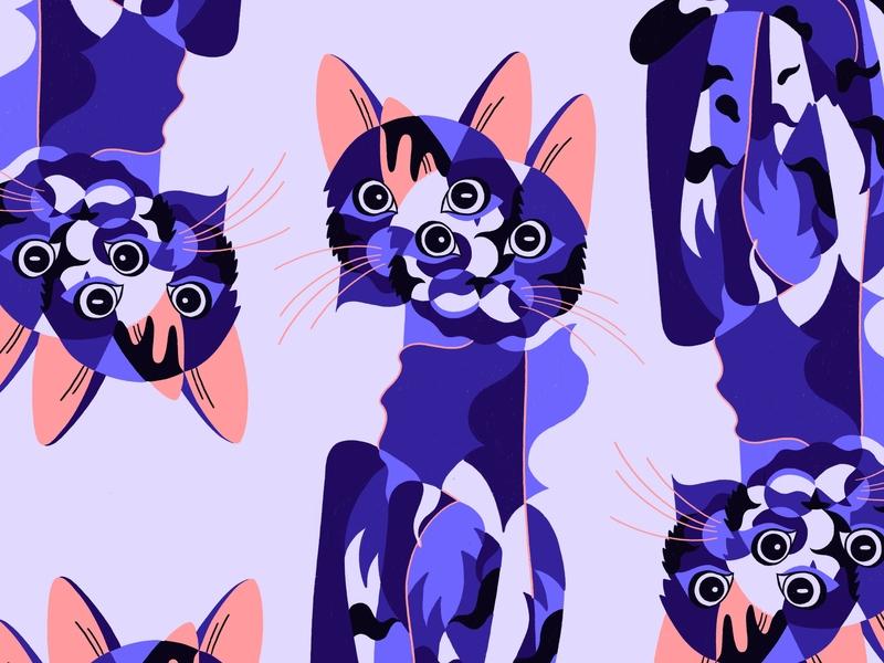 Miauw cat kitten cute purple pastel animal cat drawing procreate applepencil ipadpro cat illustration pattern cat
