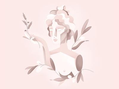 Fields of philosophy part 1: Aesthetics. bust girl twig branch olive nature pink aesthetics philosophy ancient greece ancient grain texture ipadpro applepencil procreate pastel drawing illustration art director design illustration