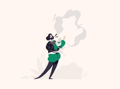 TELLING LIES story amsterdam germany green character animation character man minastojanovic design drawing nature procreate ipadpro applepencil pastel illustration